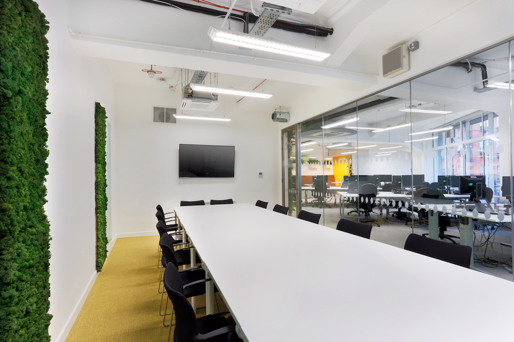 UK Green Building Council office refurbishment. Breathaplasta lime plaster on breathaboard breathable plasterboard.