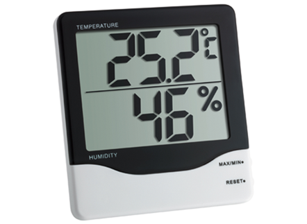 A hygrometer showing temperature and relative humidity. The ideal relative humidity range for health and comfort is about 40-50%.